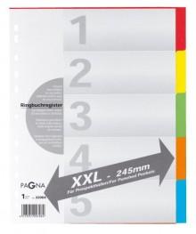 Register überbreit 5-teilig farbigem Karton, 5-farbig mit