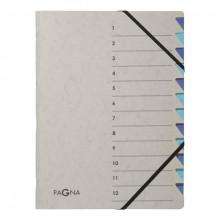 Ordnungsmappe Easy Grey , A4, 12 Fächer, blau