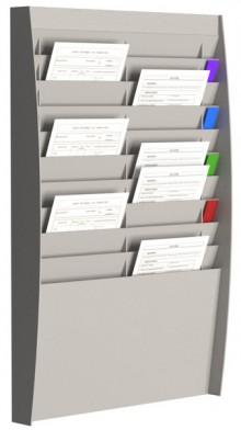 Sortiertafel hoch 2x10 Fächer A4 grau, Außenmaß:86,5x54,4x10,6