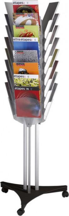 Prospektständer 3x8 A4 Fächer durch- sichtig, Ständer Aluminium