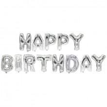 """Folienlufballons, """"Happy Birthday"""", silber, mit selbstschließendem Ventil"""