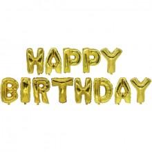"""Folienlufballons, """"Happy Birthday"""", gold, mit selbstschließendem Ventil"""