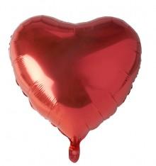 "Folienlufballon, Ø 45cm, ""Heart"", rot, mit selbstschließendem Ventil"