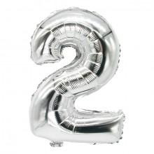 """Folienlufballon, 35 x 20cm, """"2"""", silber, mit selbstschließendem Ventil"""