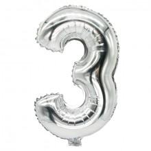 """Folienlufballon, 35 x 20cm, """"3"""", silber, mit selbstschließendem Ventil"""
