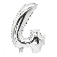 """Folienlufballon, 35 x 20cm, """"4"""", silber, mit selbstschließendem Ventil"""