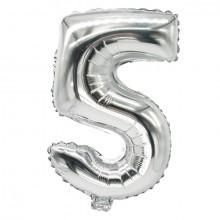 """Folienlufballon, 35 x 20cm, """"5"""", silber, mit selbstschließendem Ventil"""