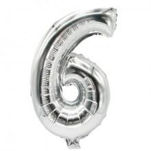 """Folienlufballon, 35 x 20cm, """"6"""", silber, mit selbstschließendem Ventil"""