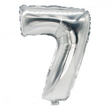 """Folienlufballon, 35 x 20cm, """"7"""", silber, mit selbstschließendem Ventil"""