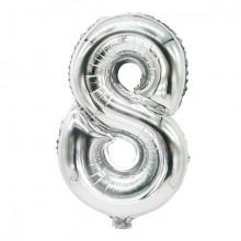"""Folienlufballon, 35 x 20cm, """"8"""", silber, mit selbstschließendem Ventil"""
