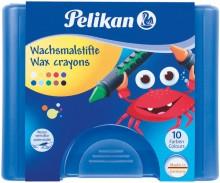Pelikan Wachsmalstifte 655/10 10 runde Stifte mit Schiebehülse