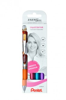 Liquid Gel-Tintenroller EnerGel 4er Set orange,pink,hellblau,violett