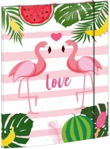 Zeichenmappe A3, Flamingos, mit Gummizugverschluß, Maße 310 x 440 mm