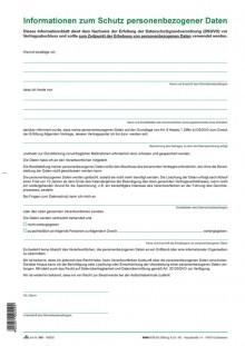 "Informationsblatt ""Informationen zum Schutz personenbezogener Daten""."
