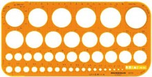 Kreisschablone Ø 1 mm - 36 mm, orange mm-Teilung, Tuschekante