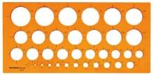 Kreisschablone Ø 1 mm - 35 mm, orange 1 mm steigend, Tuschekante