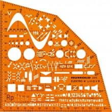 Rumold Ausbildungsschablone Elektro, orange, Symbole f. Elektroinstallation