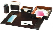 Elegantes Schreibtisch-Set Kunstleder braun, 5-teiliges Set besteht aus: