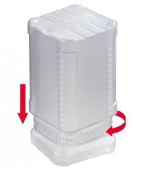 Block Pack m. TwistLock, 350-620mm transparent 65mm innen, PE,