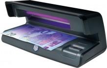 Geldscheinprüfgerät 50 schwarz zeigt UV-Merkmale von Geldscheinen