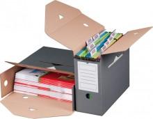 Archivbox für Hängemappen grau Innenmaß: 328x115x265mm Außenmaß:
