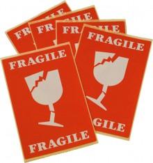 "Etikett ""Fragile"" selbstklebend Maß 74 x 105 mm"