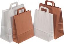 Tragetasche Papier, braun, gefalteter Papiergriff, Maße: 260x100x330 mm