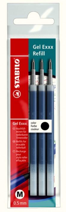 Gel Exxx Nachfüllmine schwarz, 3er Pack, 0,5 mm Strichstärke