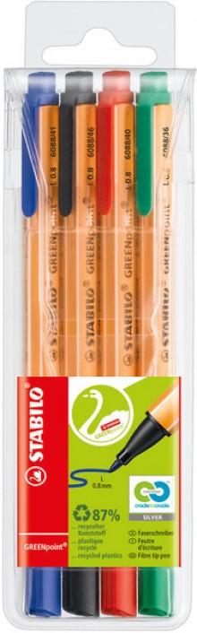GREENpoint Faserschreiber, 4er Etui, 0,8mm, robuste breite Spitze,