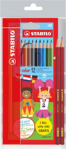 Stabilo color Buntstift 12er Etui + 2 Bleistifte