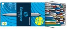 Druckkugelschreiber K15 50er sortierte Farben, blau schreibend