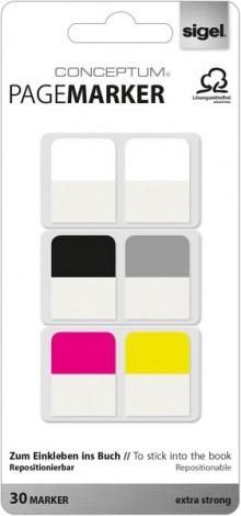 Pagemarker 20 x 26 mm, sortierte Packung. 2xweiß, schwarz, grau,