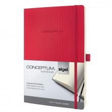 Notizbuch Conceptum, 80g, Softcover red, kariert, Stiftschlaufe, DIN A4