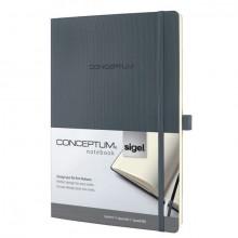 Notizbuch Conceptum, 80g, Softcover dark grey, kariert, Stiftschlaufe, DIN A4
