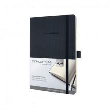 Notizbuch Conceptum, 80g, Softcover schwarz, kariert, Stiftschlaufe