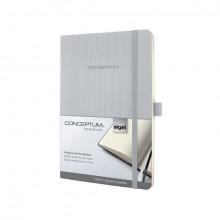 Notizbuch Conceptum, 80g, Softcover light grey, kariert, Stiftschlaufe