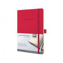 Notizbuch Conceptum, 80g, Softcover red, kariert, Stiftschlaufe