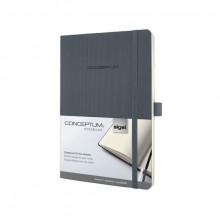 Notizbuch Conceptum, 80g, Softcover dark grey, kariert, Stiftschlaufe