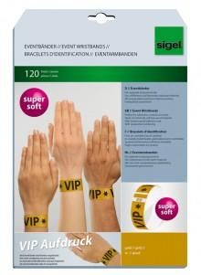 Eventbänder Super Soft VIP Aufdruck Farbe: gold, 255x25 mm