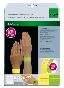 Eventbänder Super Soft Mix fluores- zierend gelb und grün, 255x25 mm