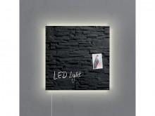 Glas-Magnetboard Artverum, Schiefer- Stone, LED-light, inkl. starker Magnete,