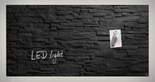 Glas-Magnetboard Artverum, Schiefer- Stone, LED-light, inkl. starker