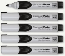 GLasboardmarker 2-3 mm Rundspitze, schwarz, abwischbar, Etui mit 5 Stiften