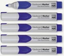 GLasboardmarker 2-3 mm Rundspitze, blau, abwischbar,Etui mit 5 Stifte