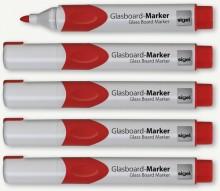 GLasboardmarker 2-3 mm Rundspitze, rot, abwischbar,Etui mit 5 Stifte