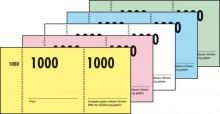 Nummernblock 1-1000, 5-farbig sortiert, 105 x 50 mm