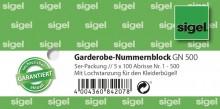 Garderoben Nummernblock 1-500, 105x50mm, Lochstanzung f. Kleiderbügel