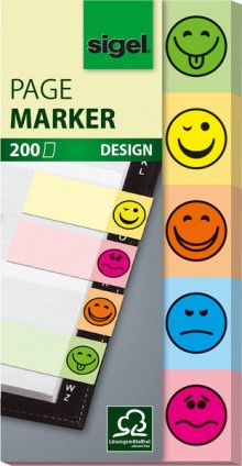 Haftmarker Smilie 20x50mm 5 Motive im Pocket