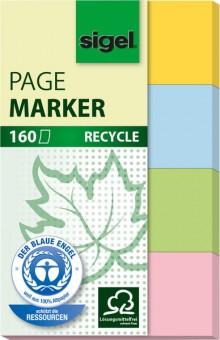 Haftmarker Recycling 50x20mm, 4 Farben im Pocket gelb,blau,grün,rot.
