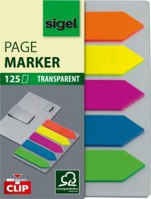 Haftmarker Pfeil 12x50mm 5 Farben auf Karte mit Klemmfunktion